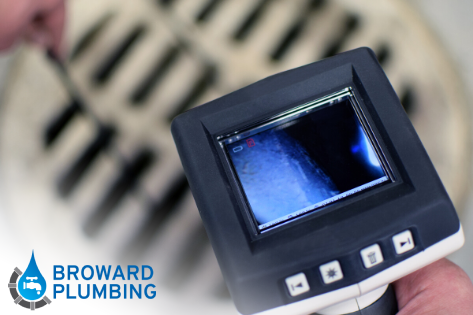 Drain camera inspection being performed by Broward Plumbing's licensed plumbers